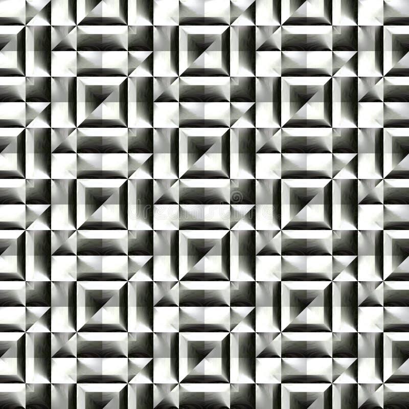 Абстрактная черно-белая пластичная картина Металлическая поверхность серебра 3D Проверенный сброс стена текстуры кирпича предпосы иллюстрация штока