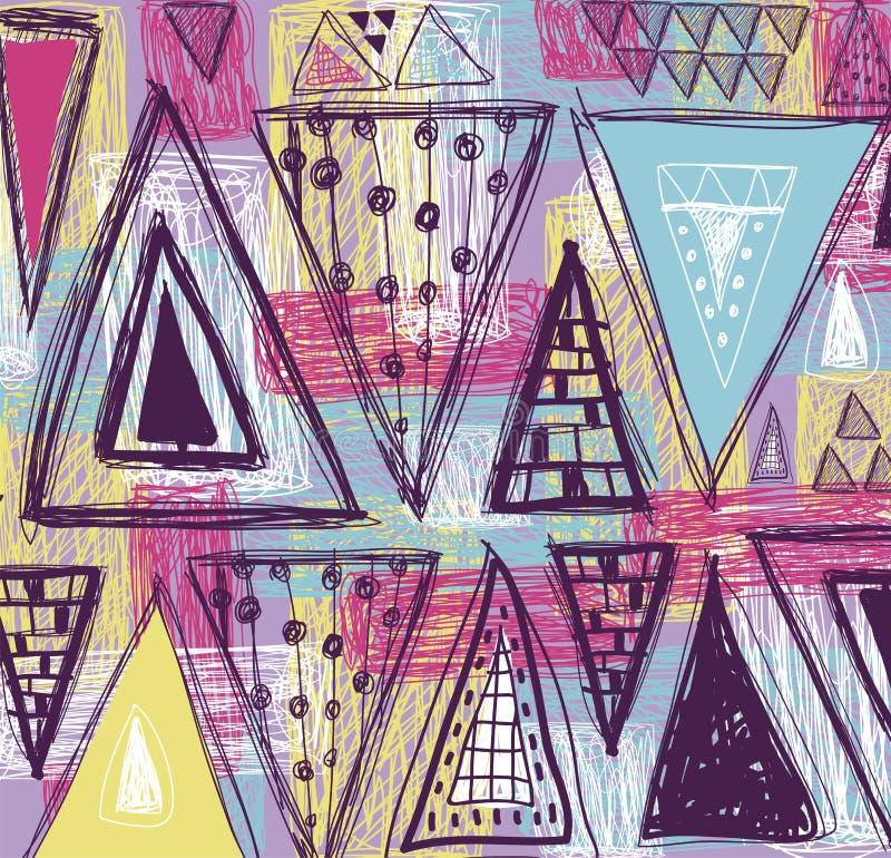 Абстрактная этническая безшовная картина в стиле примитивной культуры Этническая предпосылка вектора Предпосылка Grunge Картина т иллюстрация штока