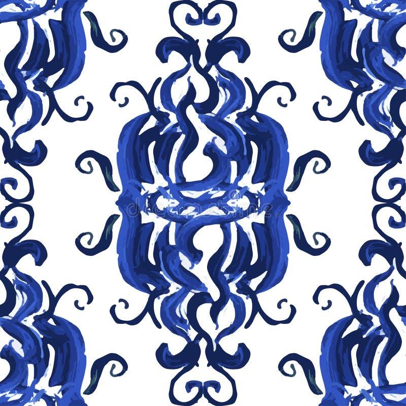 Абстрактная яркая голубая помарка безшовный вектор иллюстрация штока
