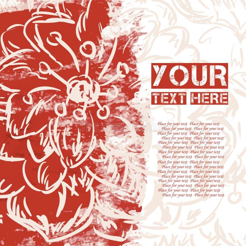 Абстрактная яркая помарка с цветком для вашего сообщения иллюстрация штока