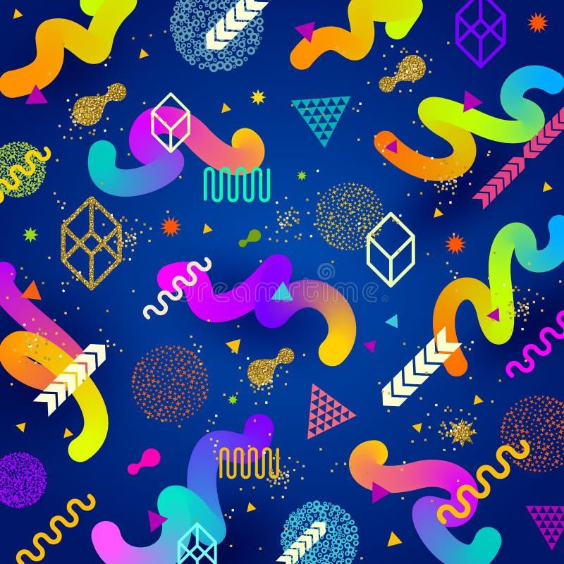 Абстрактная яркая предпосылка с пестроткаными геометрическими формами бесплатная иллюстрация