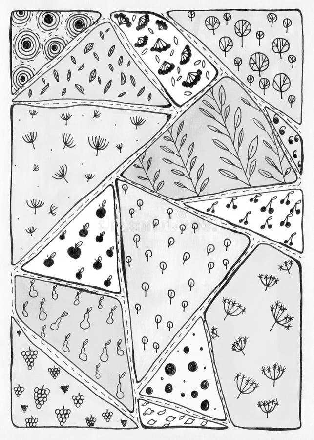 Абстрактная monochrome предпосылка в стиле doodle бесплатная иллюстрация