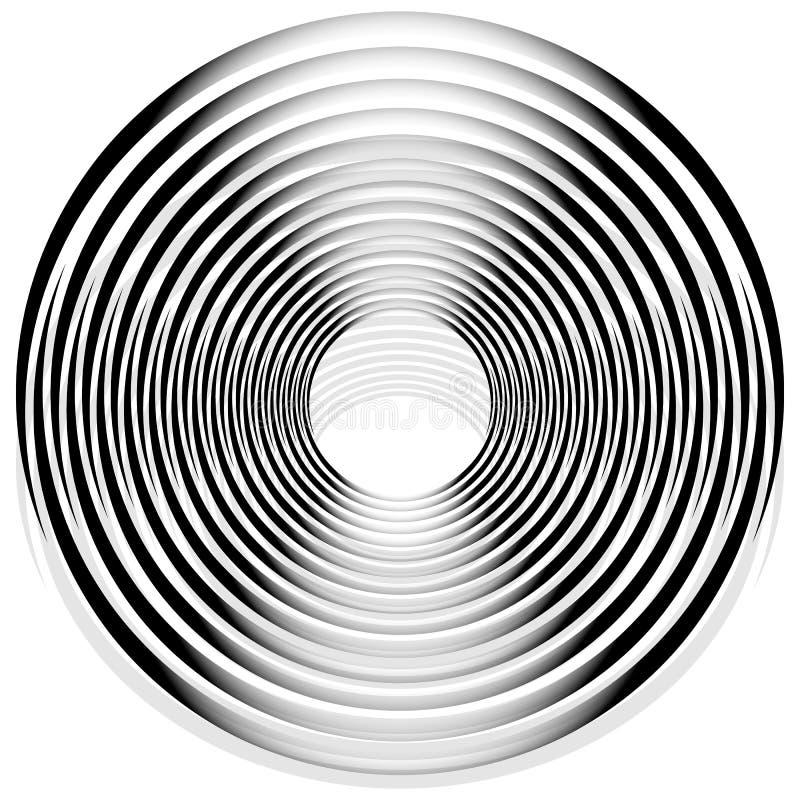 Абстрактная monochrome спираль, вортекс с радиальным, излучая круг иллюстрация штока