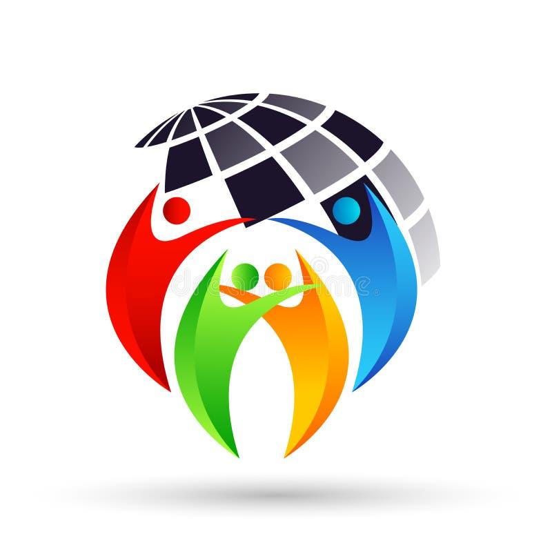 Абстрактного мира глобуса красочные людей отчете о здоровья иллюстрации вектора концепции элемента значка логотипа совместно на б иллюстрация вектора