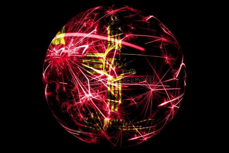 Абстрактное Альбукерке, флаг Неш-Мексико сверкная Американская концепция праздника шарика рождества изолированная на черной предп иллюстрация штока