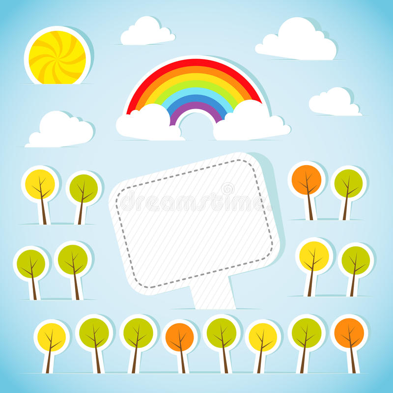 Абстрактное бумажное знамя с пущей и радугой иллюстрация вектора