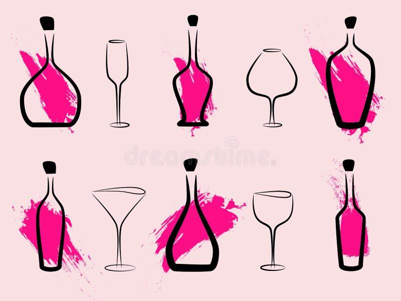 абстрактное вино бутылок бесплатная иллюстрация