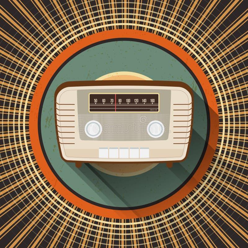 Абстрактное винтажное радио на ретро предпосылке круга иллюстрация штока