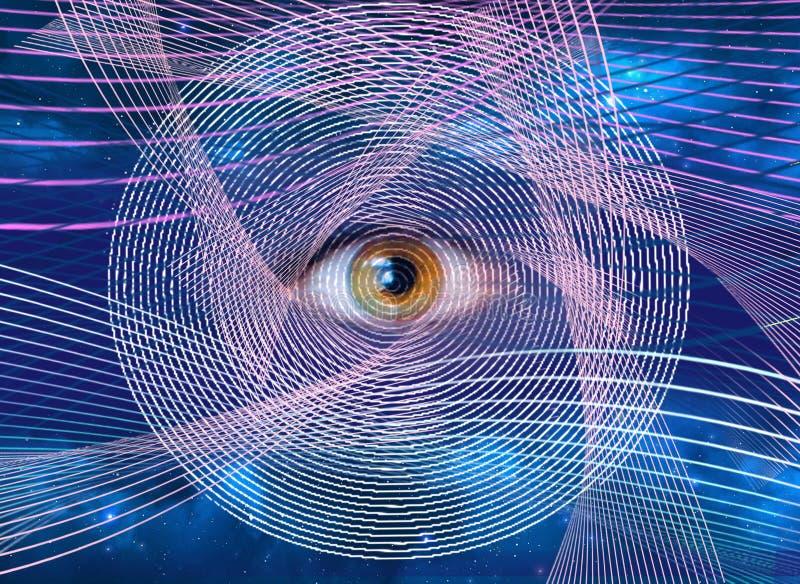 Абстрактное всевидящее око мир нового порядка иллюстрация штока