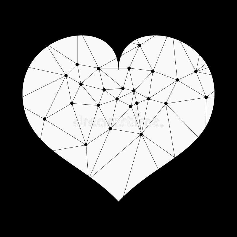 Абстрактное геометрическое сердце линий и точки, полигональной формы Предпосылка дня Валентайн s иллюстрация вектора