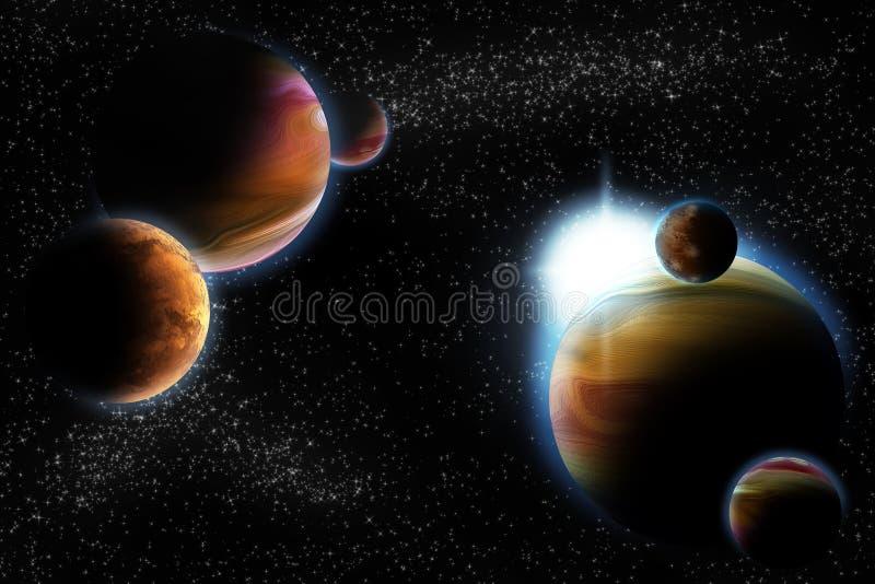 абстрактное глубокое солнце космоса планеты пирофакела бесплатная иллюстрация