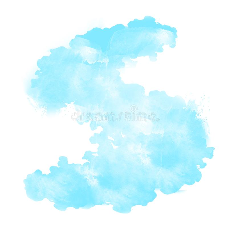 Абстрактное голубое небо, акварель иллюстрация штока