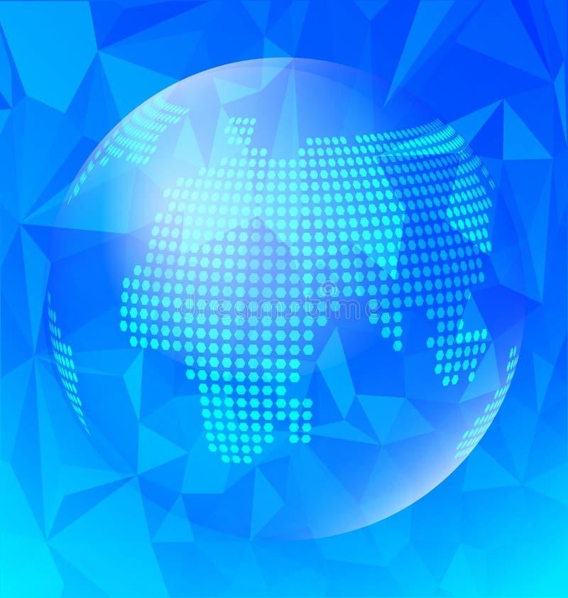 Абстрактное голубое полигональное с глобусом иллюстрация штока