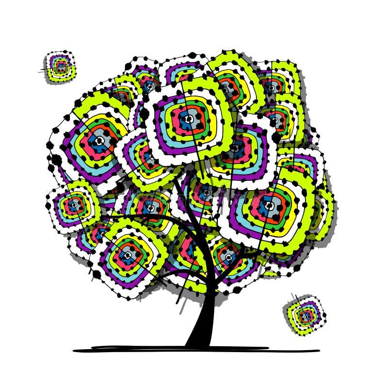 Абстрактное дерево, этнический орнамент для вашего дизайна иллюстрация вектора