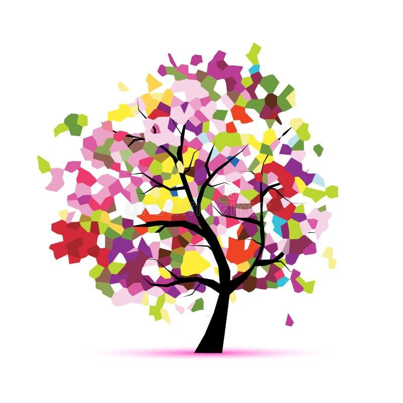 Абстрактное дерево мозаики для вашего дизайна иллюстрация вектора