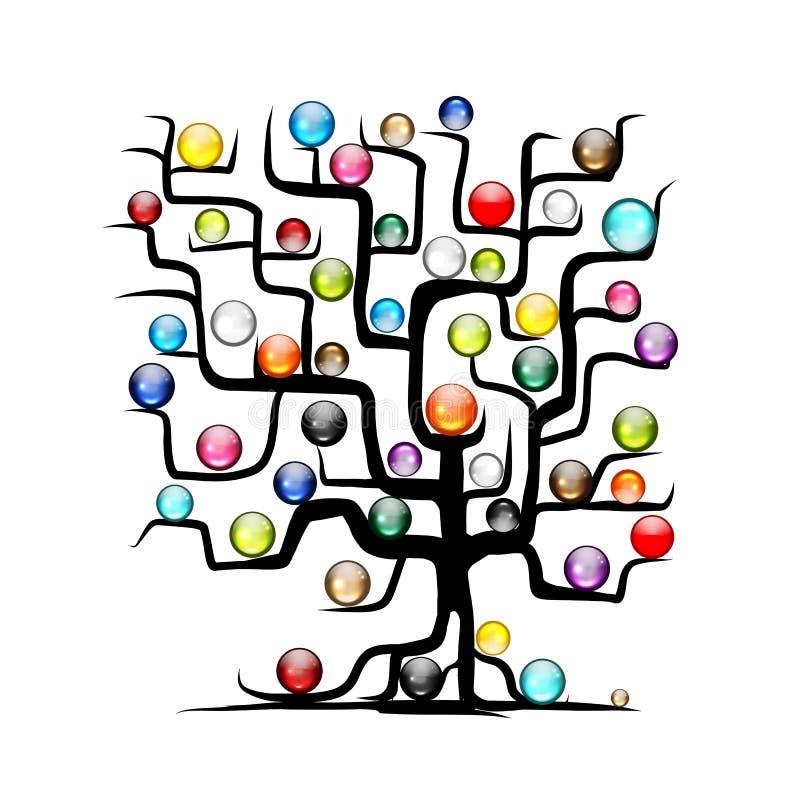 Абстрактное дерево с лоснистыми шариками для вашего дизайна иллюстрация вектора