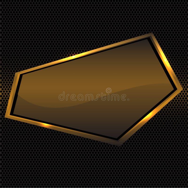 Абстрактное знамя полигона золота на векторе предпосылки черного дизайна сетки круга роскошном современном иллюстрация вектора