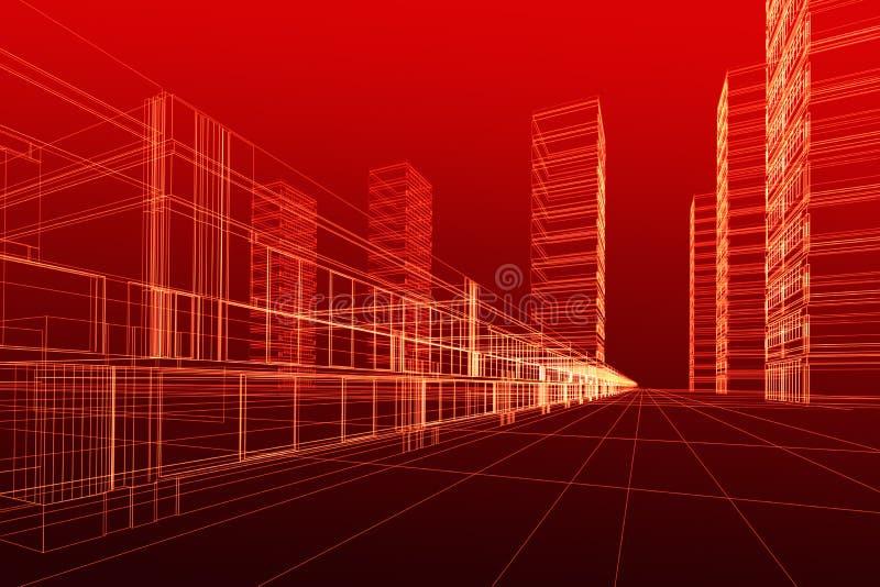 абстрактное зодчество 3d иллюстрация вектора