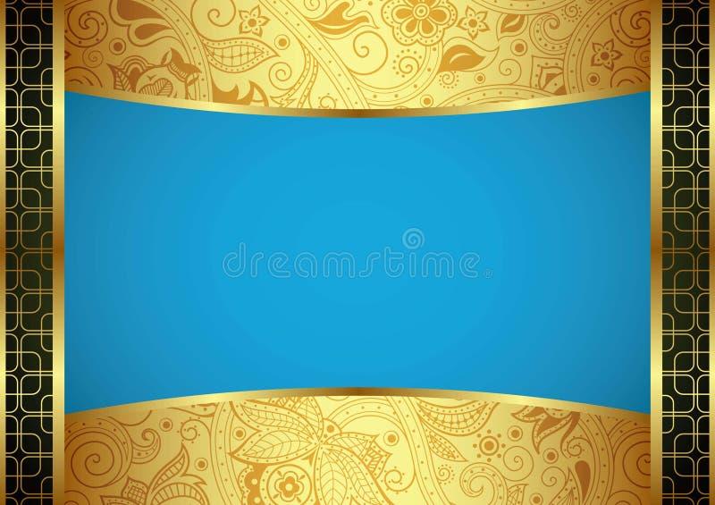 Абстрактное золото и голубая флористическая рамка иллюстрация штока
