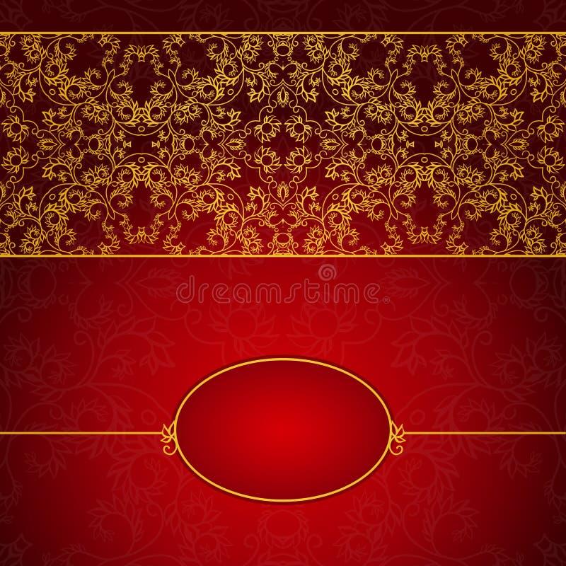 Download Абстрактное золото и красная рамка приглашения Иллюстрация вектора - иллюстрации насчитывающей флористическо, шикарно: 41653982