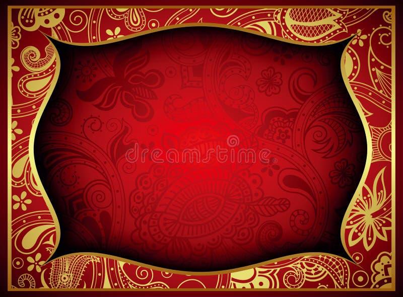 Абстрактное золото и красная флористическая предпосылка рамки иллюстрация вектора