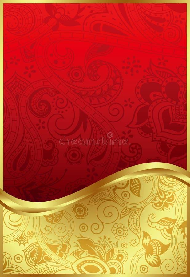 Абстрактное золото и красная флористическая предпосылка иллюстрация вектора