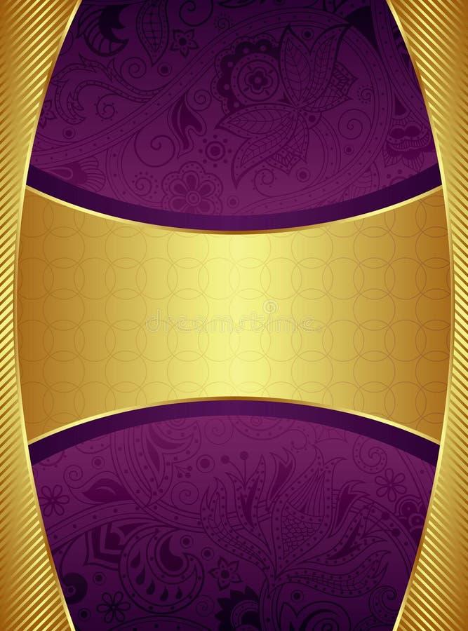 Абстрактное золото и фиолетовая флористическая предпосылка иллюстрация вектора