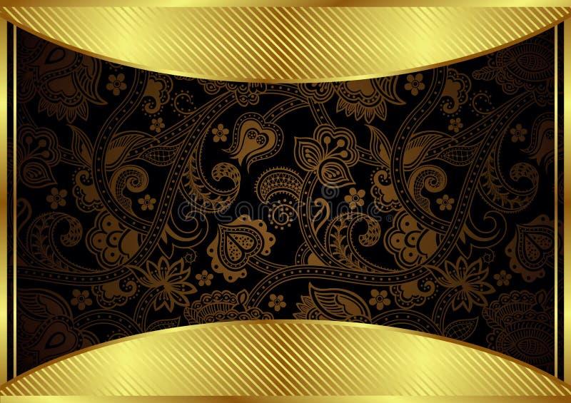Абстрактное золото и флористическая рамка иллюстрация штока