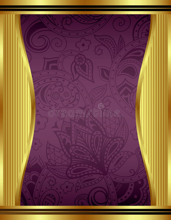 Абстрактное золото и флористическая рамка иллюстрация вектора