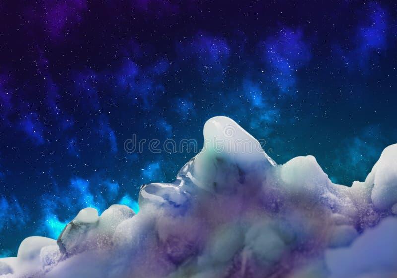 Абстрактное изображение взгляда космоса от неизвестной планеты льда, il иллюстрация штока