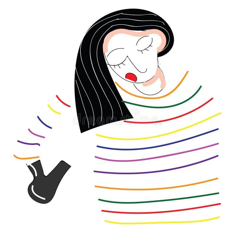 Абстрактное изображение девушки в полосатой рубашке, сушившей векторную иллюстрацию волос бесплатная иллюстрация