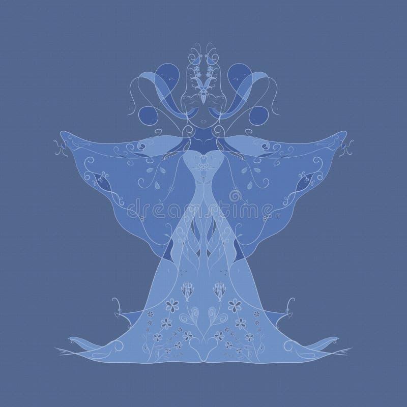 Абстрактное изображение, изображения женщины состоя из рыб, птиц, sna бесплатная иллюстрация