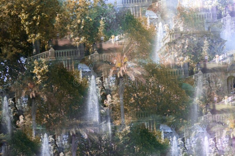 Абстрактное изображение парка Ciutadella стоковая фотография