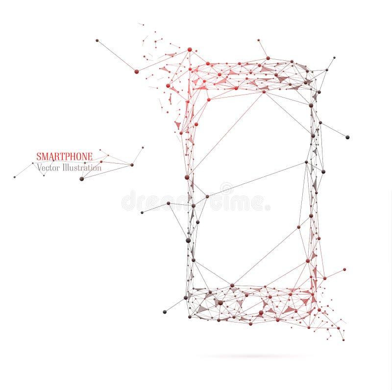 Абстрактное изображение смартфона из линий и треугольников стоковая фотография rf