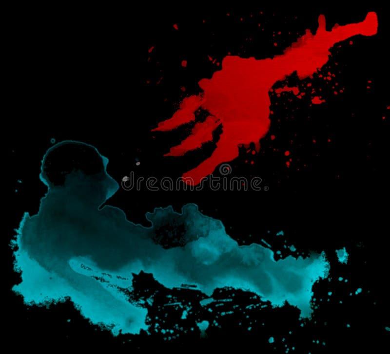 Абстрактное искусство водяной кисти расщепленной красной человеческой и Спир пирс концепция сердце человека трудно понять, искусс бесплатная иллюстрация