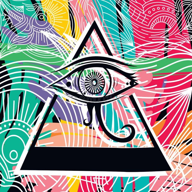 Абстрактное искусство глаза Horus иллюстрация штока