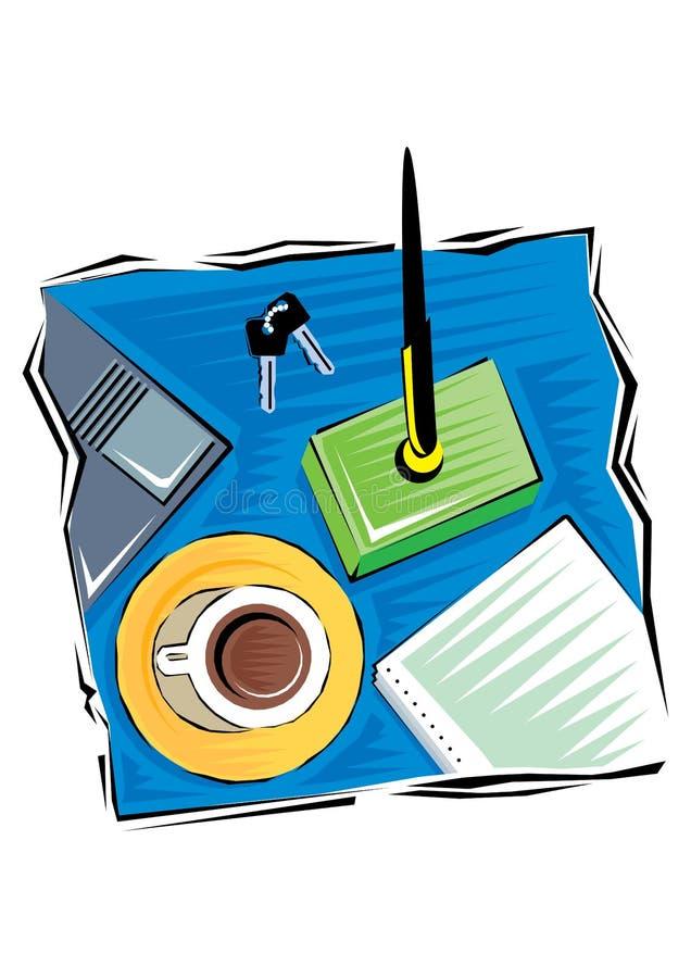 Абстрактное искусство зажима инструментов офиса и поставок канцелярских принадлежностей на деревянном столе r иллюстрация вектора