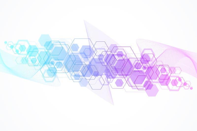 Абстрактное исследование дна медицинской предпосылки, молекула, генетика, геном, цепь дна Генетическая концепция искусства анализ иллюстрация вектора