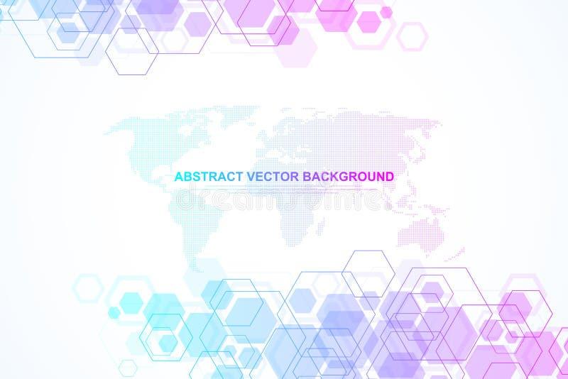 Абстрактное исследование дна медицинской предпосылки, молекула, генетика, геном, цепь дна Генетическая концепция искусства анализ бесплатная иллюстрация