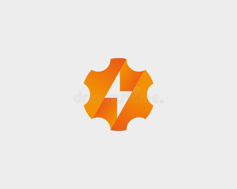 Абстрактное колесо cog с внезапным шаблоном дизайна логотипа Логотип thunderbolt геометрической шестерни быстрый быстрый иллюстрация штока