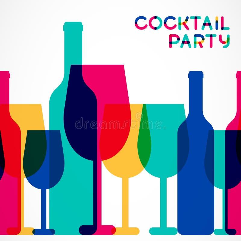 Абстрактное красочное backgr стекла коктеиля и бутылки вина безшовное иллюстрация вектора
