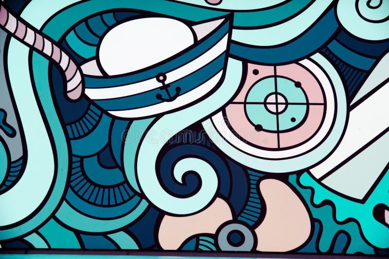 Абстрактное морское искусство стены - минималистское граффити стоковое изображение