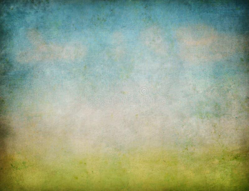 абстрактное небо ландшафта grunge травы предпосылки стоковое изображение
