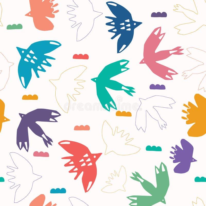 Абстрактное облако птицы отрезало вне формы Предпосылка картины вектора безшовная Коллажа стиля matisse руки иллюстрация вычерчен иллюстрация вектора