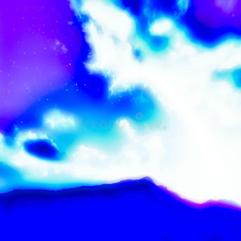 Абстрактное освещающее небо голубого света иллюстрация вектора