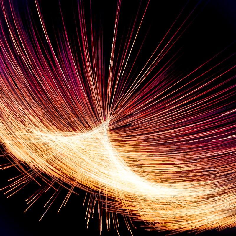 Абстрактное освещение фрактали с желтым и красными линиями иллюстрация вектора