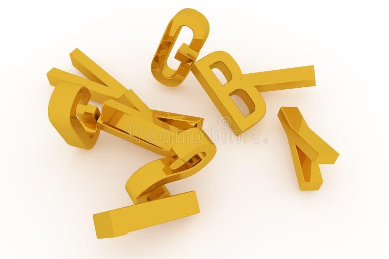 Абстрактное оформление CGI, алфавитный знак представляет письмо ABC Обои для графического дизайна иллюстрация вектора