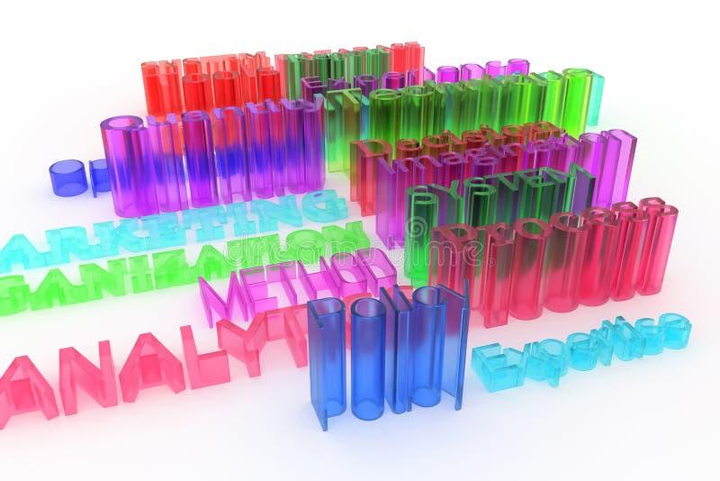 Абстрактное оформление CGI, дело связало ключевые слова Обои для графического дизайна Метод, опыт, воображение, маркетинг бесплатная иллюстрация