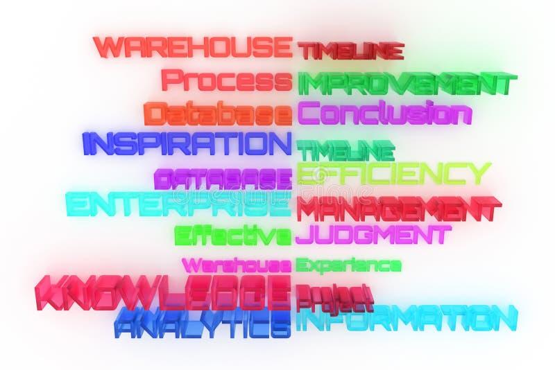 Абстрактное оформление CGI, дело связало ключевые слова Обои для графического дизайна Суждение, информация, управление, эффективн иллюстрация штока