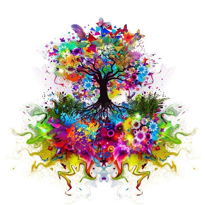 Абстрактное пестротканое дерево с корнями иллюстрация вектора